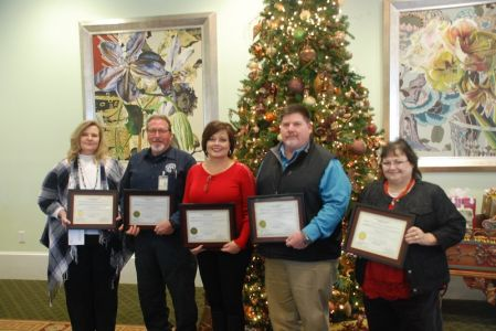 5-years of Service – L- R Jodi Ligon, Keith Horn, Meredith Jenkins, Rob Messmore, Debra Sanders