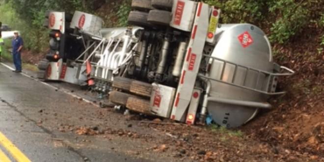 Tanker Truck Overturns North Of Helen – WRWH