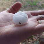 Ping Pong size hail  in southern White County on Westmoreland Road