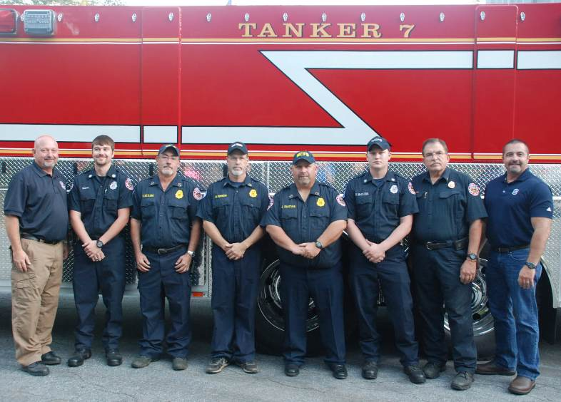 L-R- White County Public Safety Director David Murphy, Conner Smith,  Second Lt.  Daniel McClure, Captain Mark Robbins, First Lt. Jamie Chastain,  Shawn McClure, White County Fire  Chief Norman Alexander and White County Commission Chairman Travis Turner