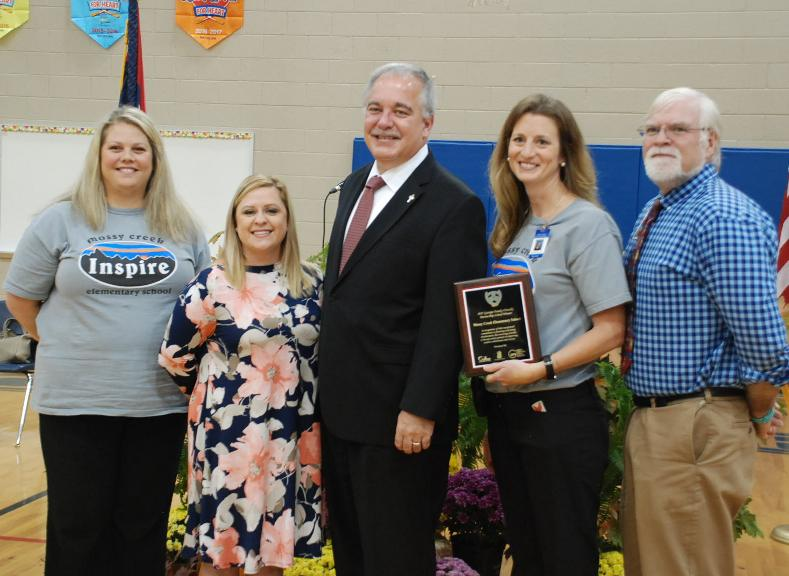 L-R Mossy Creek teacher and School Council Member Kristen Stowers, Parent Carly Adams, State School Superintendent  Richard Wood, MCES Principal Jennifer King and W.C. Superintendent of Schools  Dr. Jeff Wilson